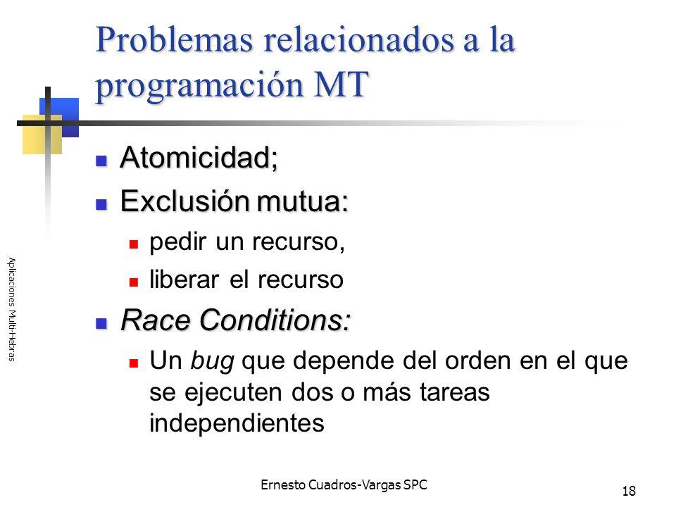 Ernesto Cuadros-Vargas SPC Aplicaciones Multi-Hebras 18 Problemas relacionados a la programación MT Atomicidad; Atomicidad; Exclusión mutua: Exclusión