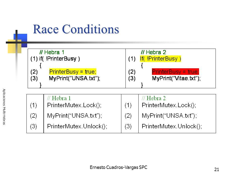 Ernesto Cuadros-Vargas SPC Aplicaciones Multi-Hebras 21 Race Conditions