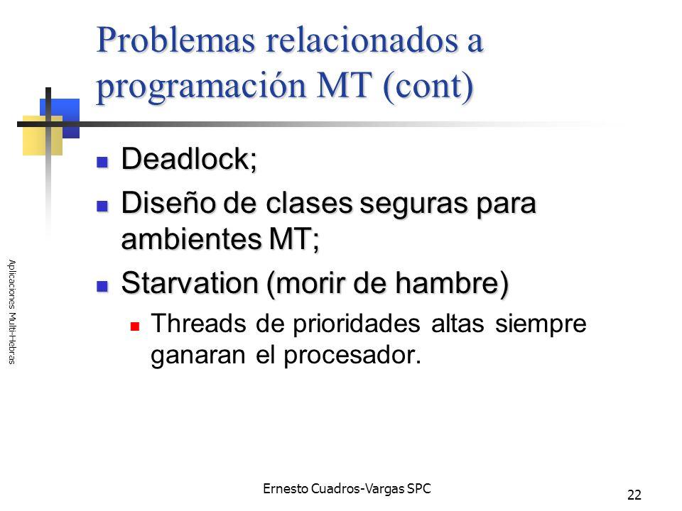 Ernesto Cuadros-Vargas SPC Aplicaciones Multi-Hebras 22 Problemas relacionados a programación MT (cont) Deadlock; Deadlock; Diseño de clases seguras p