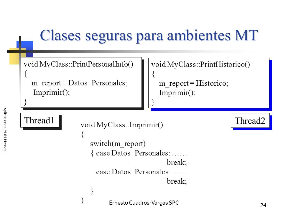 Ernesto Cuadros-Vargas SPC Aplicaciones Multi-Hebras 24 Clases seguras para ambientes MT void MyClass::PrintHistorico() { m_report = Historico; Imprim