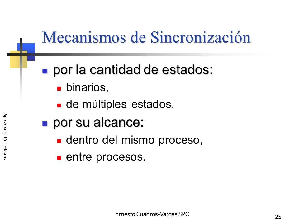 Ernesto Cuadros-Vargas SPC Aplicaciones Multi-Hebras 25 Mecanismos de Sincronización por la cantidad de estados: por la cantidad de estados: binarios,