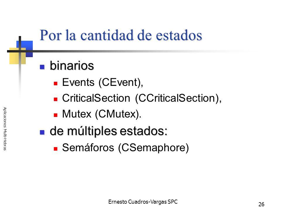 Ernesto Cuadros-Vargas SPC Aplicaciones Multi-Hebras 26 Por la cantidad de estados binarios binarios Events (CEvent), CriticalSection (CCriticalSectio