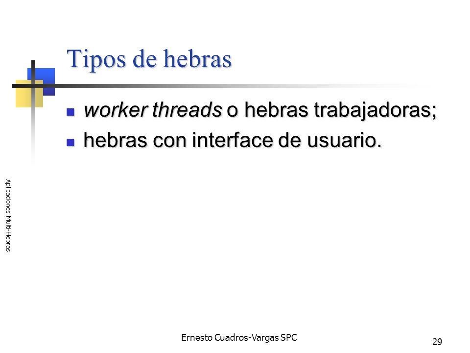 Ernesto Cuadros-Vargas SPC Aplicaciones Multi-Hebras 29 Tipos de hebras worker threads o hebras trabajadoras; worker threads o hebras trabajadoras; he
