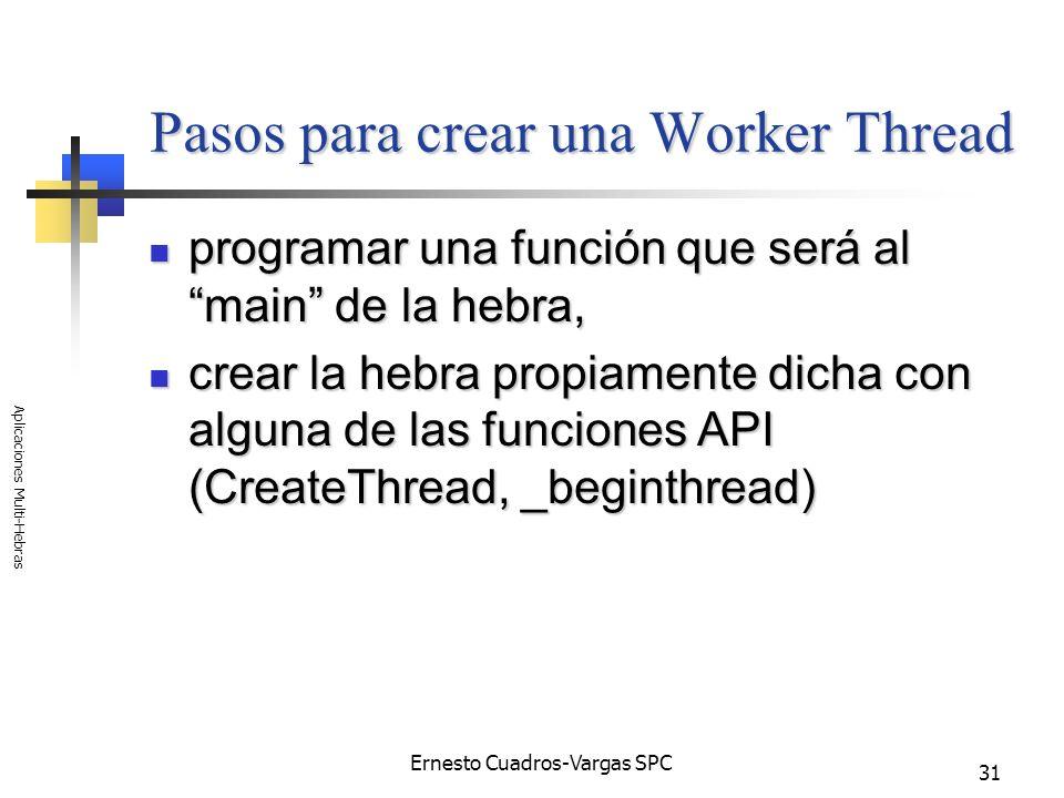 Ernesto Cuadros-Vargas SPC Aplicaciones Multi-Hebras 31 Pasos para crear una Worker Thread programar una función que será al main de la hebra, program