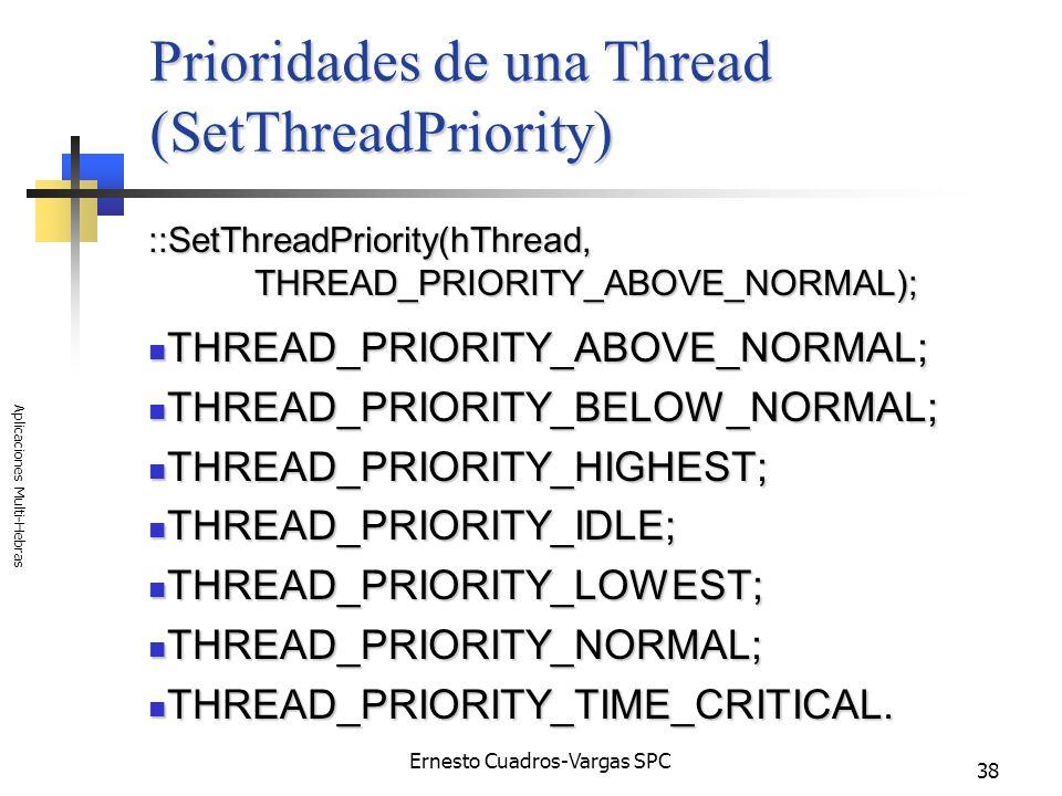 Ernesto Cuadros-Vargas SPC Aplicaciones Multi-Hebras 38 Prioridades de una Thread (SetThreadPriority) ::SetThreadPriority(hThread, THREAD_PRIORITY_ABO