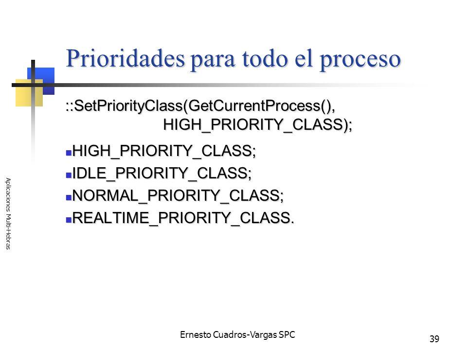 Ernesto Cuadros-Vargas SPC Aplicaciones Multi-Hebras 39 Prioridades para todo el proceso ::SetPriorityClass(GetCurrentProcess(), HIGH_PRIORITY_CLASS);