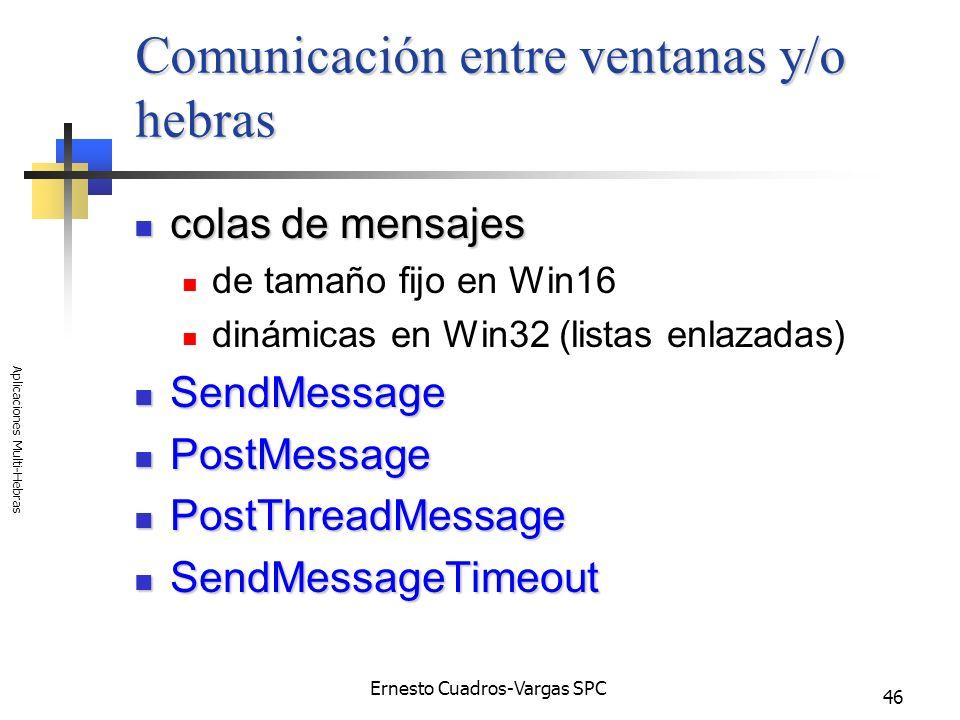 Ernesto Cuadros-Vargas SPC Aplicaciones Multi-Hebras 46 Comunicación entre ventanas y/o hebras colas de mensajes colas de mensajes de tamaño fijo en W