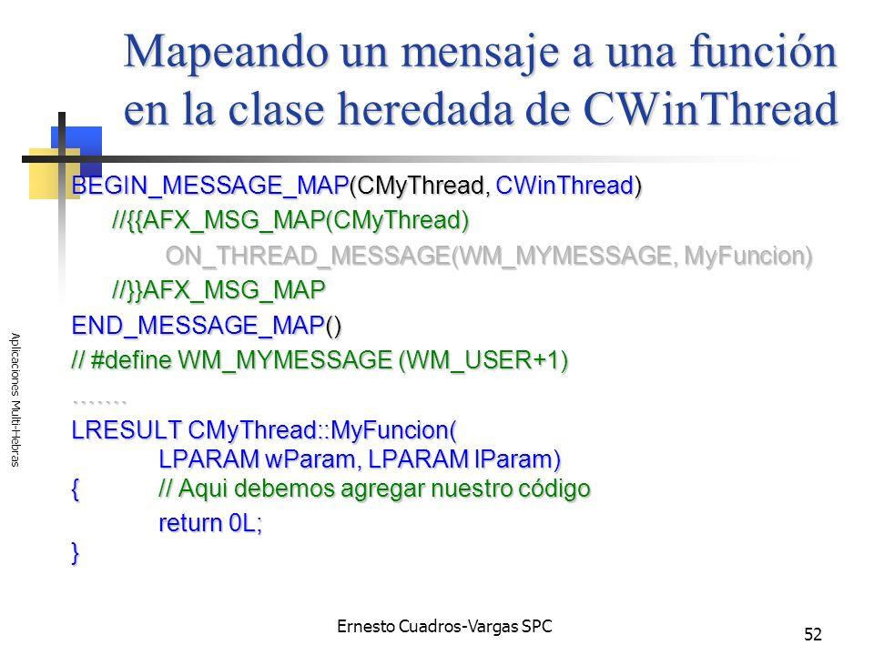 Ernesto Cuadros-Vargas SPC Aplicaciones Multi-Hebras 52 Mapeando un mensaje a una función en la clase heredada de CWinThread BEGIN_MESSAGE_MAP(CMyThre