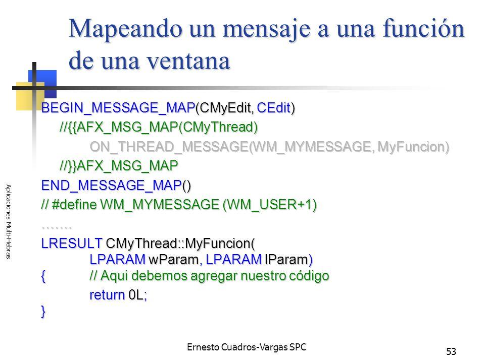 Ernesto Cuadros-Vargas SPC Aplicaciones Multi-Hebras 53 Mapeando un mensaje a una función de una ventana BEGIN_MESSAGE_MAP(CMyEdit, CEdit) //{{AFX_MSG