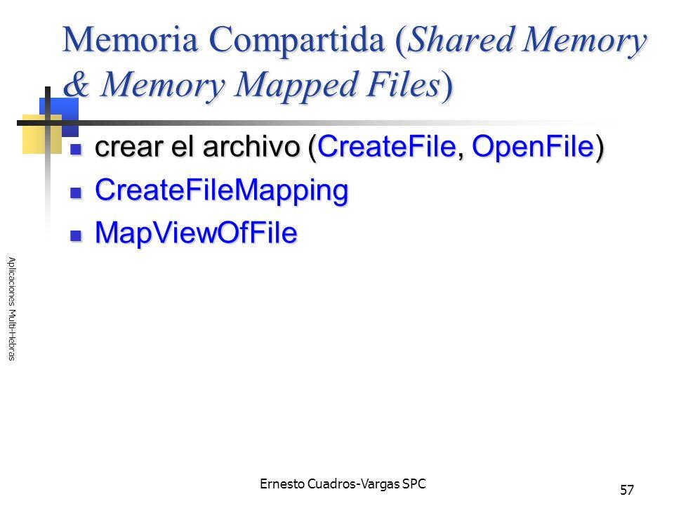 Ernesto Cuadros-Vargas SPC Aplicaciones Multi-Hebras 57 Memoria Compartida (Shared Memory & Memory Mapped Files) crear el archivo (CreateFile, OpenFil