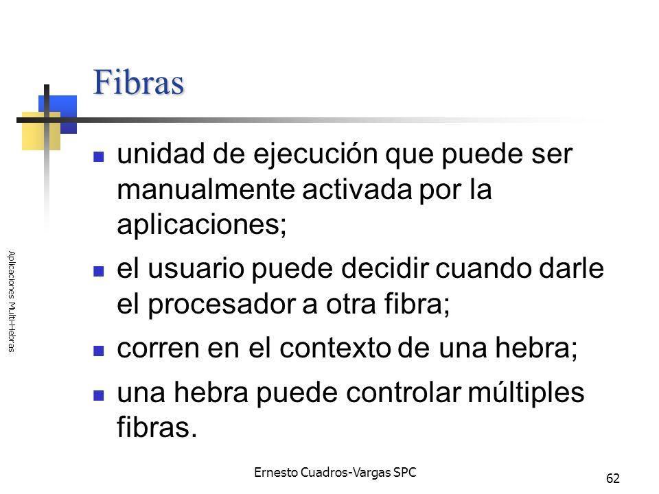 Ernesto Cuadros-Vargas SPC Aplicaciones Multi-Hebras 62 Fibras unidad de ejecución que puede ser manualmente activada por la aplicaciones; el usuario