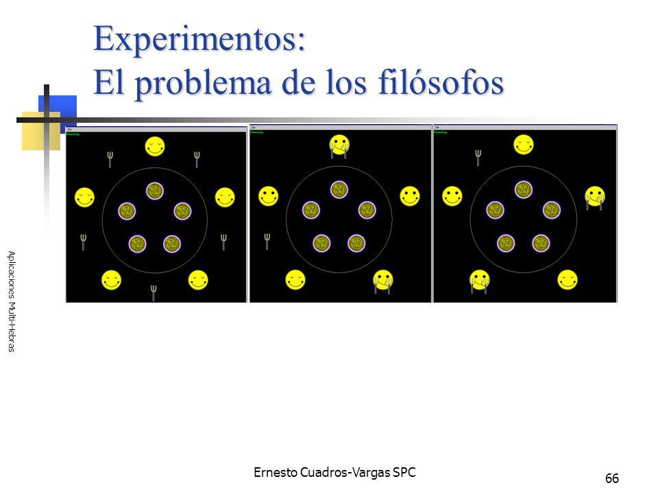 Ernesto Cuadros-Vargas SPC Aplicaciones Multi-Hebras 66 Experimentos: El problema de los filósofos