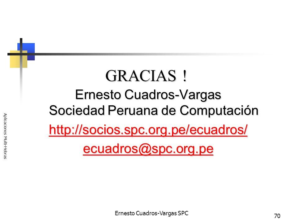 Ernesto Cuadros-Vargas SPC Aplicaciones Multi-Hebras 70 GRACIAS ! Ernesto Cuadros-Vargas Sociedad Peruana de Computación http://socios.spc.org.pe/ecua