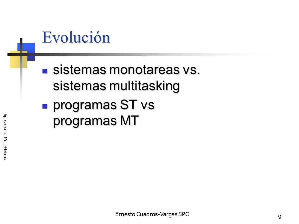 Ernesto Cuadros-Vargas SPC Aplicaciones Multi-Hebras 10 Ventajas mayor aprovechamiento de la capacidad ociosa del procesador; mayor aprovechamiento de la capacidad ociosa del procesador; podemos aprovechar mas de un procesador; podemos aprovechar mas de un procesador; mayor paralelismo; mayor paralelismo; menor tiempo de respuesta que en forma secuencial, etc.