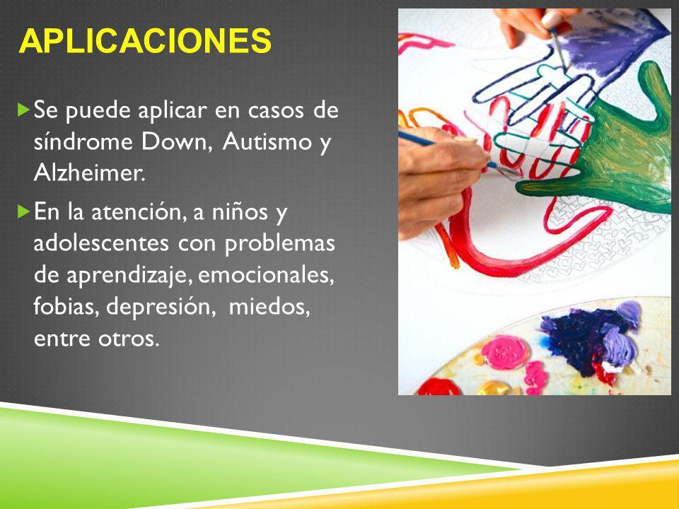 APLICACIONES Se puede aplicar en casos de síndrome Down, Autismo y Alzheimer. En la atención, a niños y adolescentes con problemas de aprendizaje, emo
