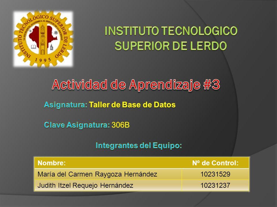 Nombre:Nº de Control: María del Carmen Raygoza Hernández10231529 Judith Itzel Requejo Hernández10231237