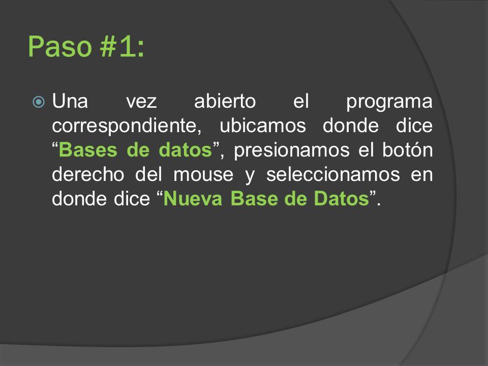 Paso #1: Una vez abierto el programa correspondiente, ubicamos donde diceBases de datos, presionamos el botón derecho del mouse y seleccionamos en don