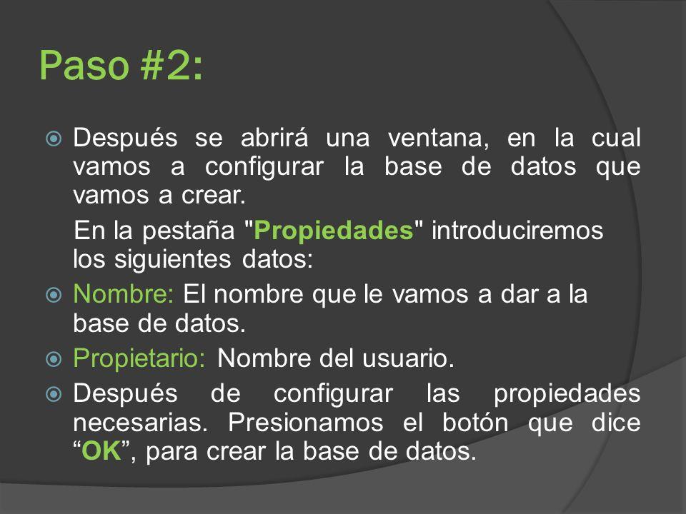 Paso #2: Después se abrirá una ventana, en la cual vamos a configurar la base de datos que vamos a crear. En la pestaña