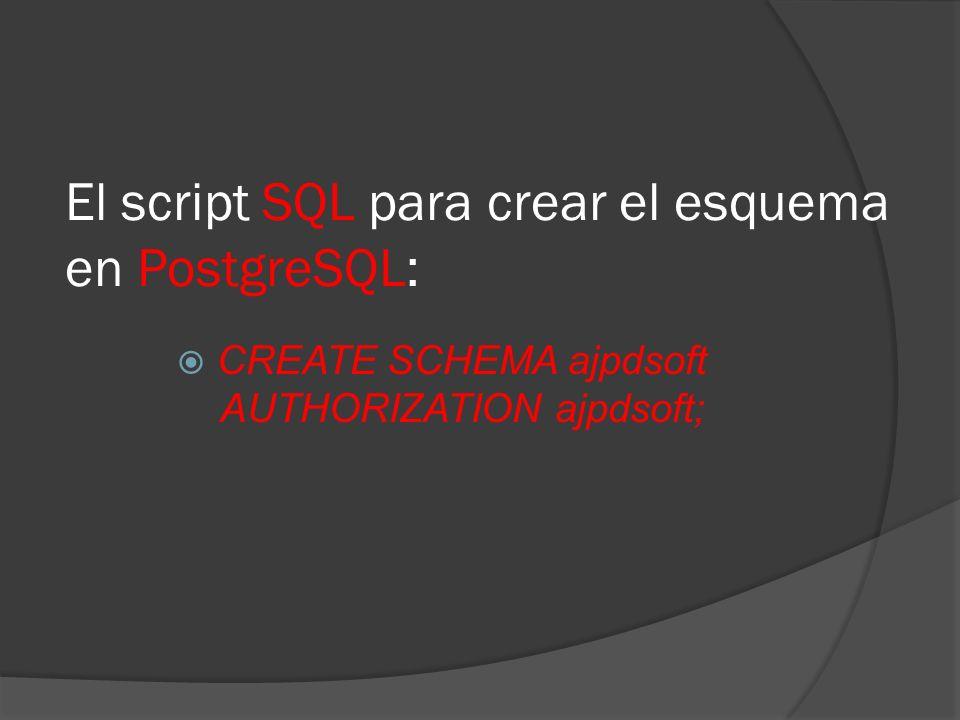 El script SQL para crear el esquema en PostgreSQL: CREATE SCHEMA ajpdsoft AUTHORIZATION ajpdsoft;