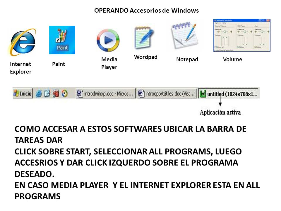 OPERANDO Accesorios de Windows Internet Explorer VolumeNotepad Wordpad Media Player Paint COMO ACCESAR A ESTOS SOFTWARES UBICAR LA BARRA DE TAREAS DAR