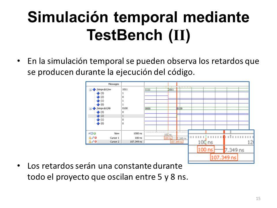 Simulación temporal mediante TestBench ( II ) En la simulación temporal se pueden observa los retardos que se producen durante la ejecución del código