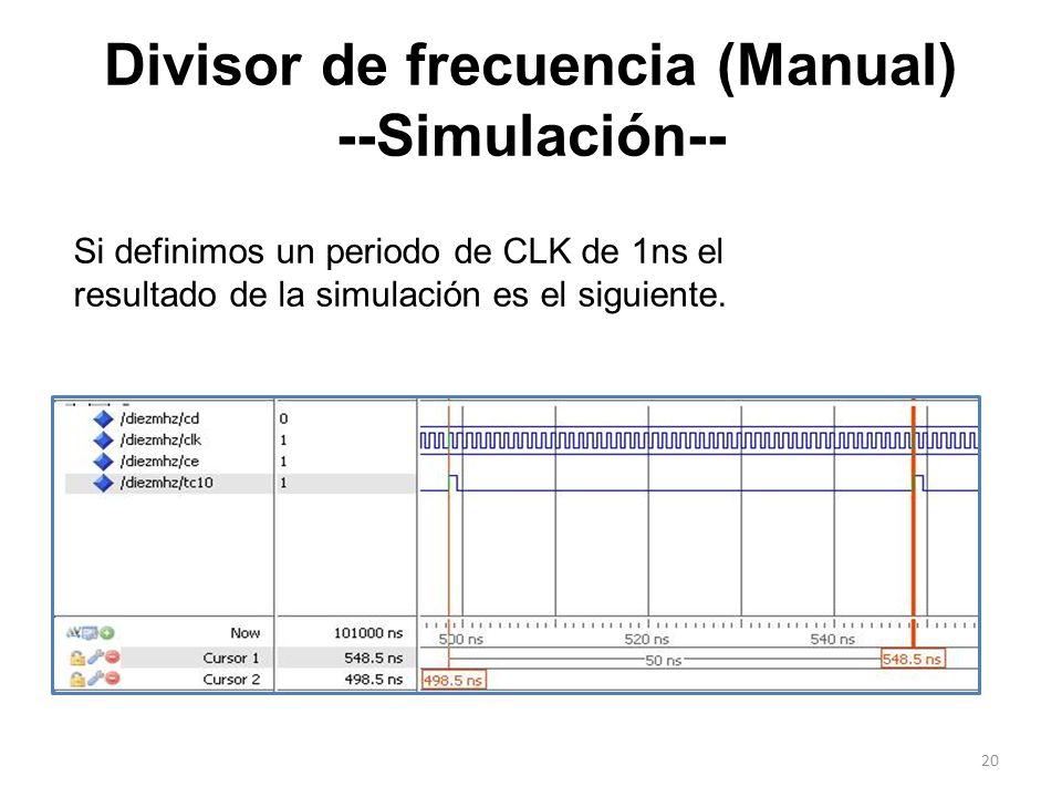 Divisor de frecuencia (Manual) --Simulación-- Si definimos un periodo de CLK de 1ns el resultado de la simulación es el siguiente. 20