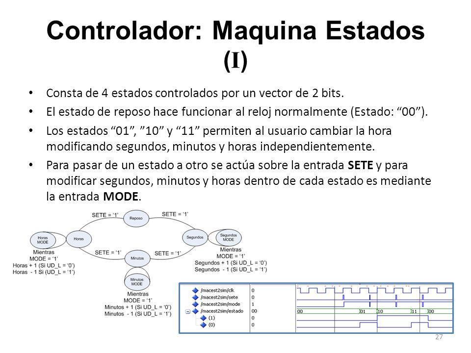 Controlador: Maquina Estados ( I ) Consta de 4 estados controlados por un vector de 2 bits. El estado de reposo hace funcionar al reloj normalmente (E