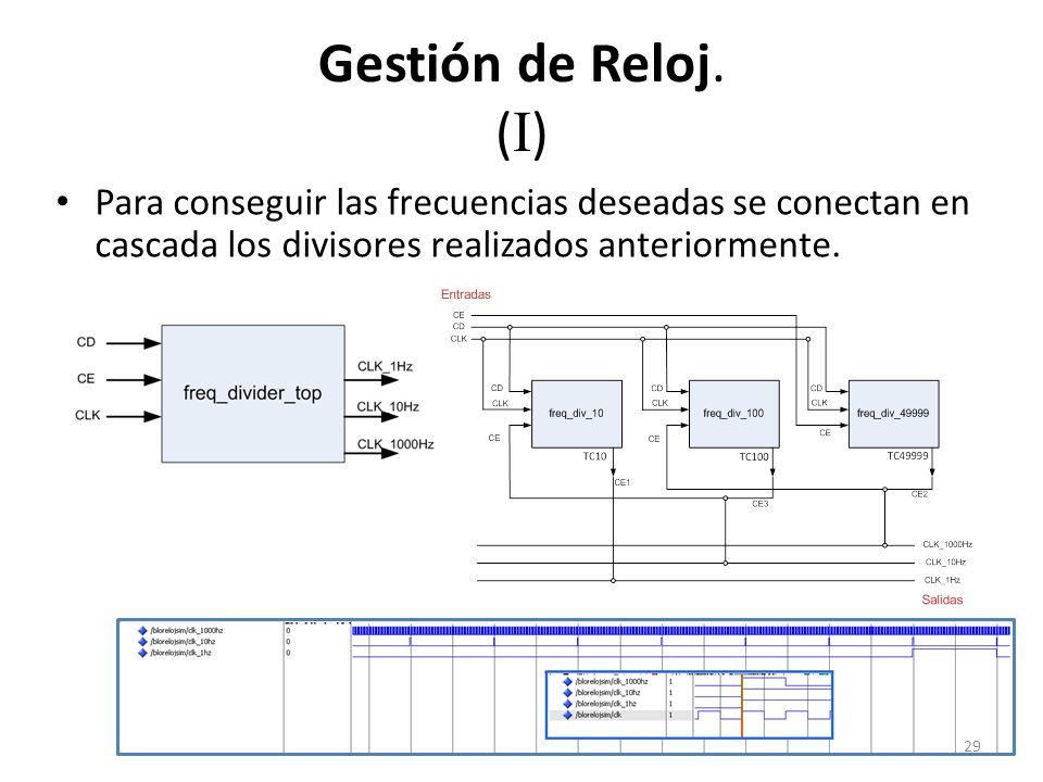 Gestión de Reloj. ( I ) Para conseguir las frecuencias deseadas se conectan en cascada los divisores realizados anteriormente. 29
