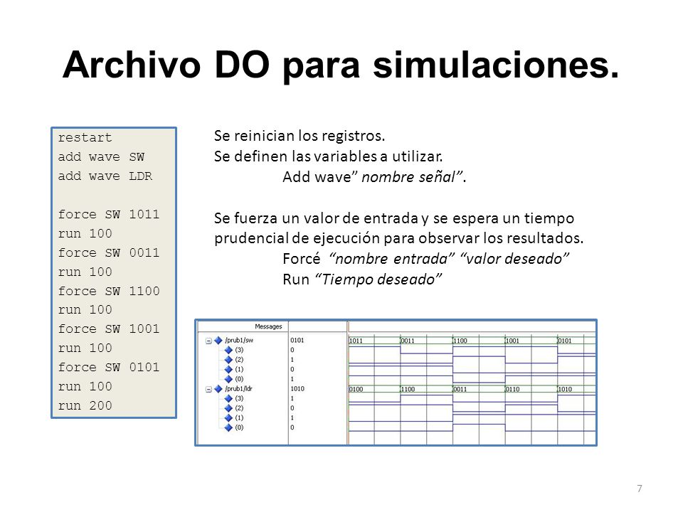Archivo DO para simulaciones. restart add wave SW add wave LDR force SW 1011 run 100 force SW 0011 run 100 force SW 1100 run 100 force SW 1001 run 100