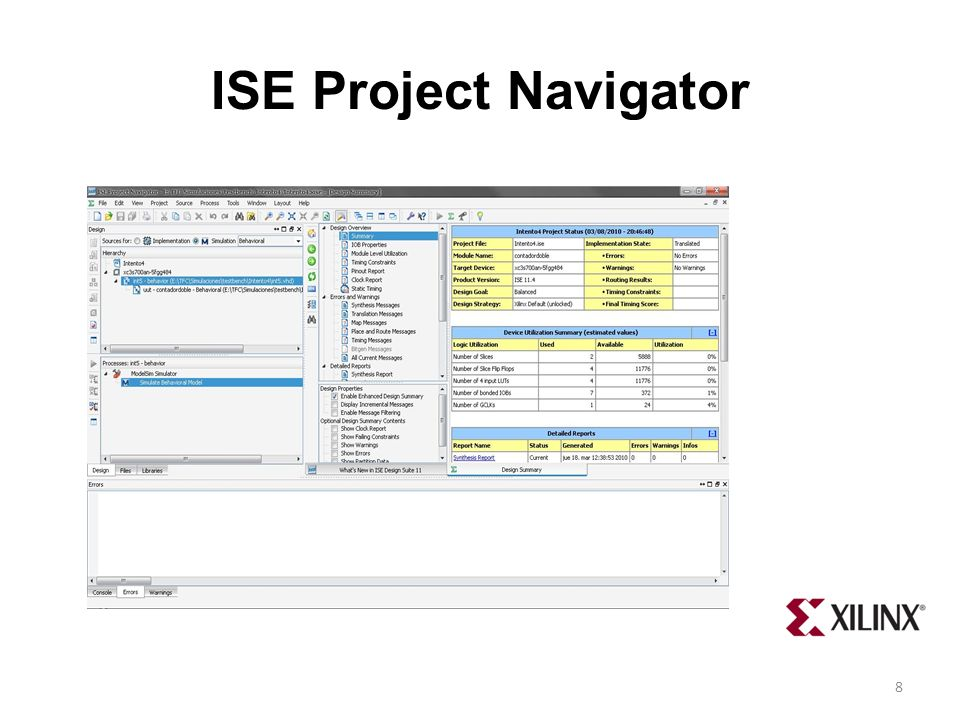 ISE Project Navigator 8
