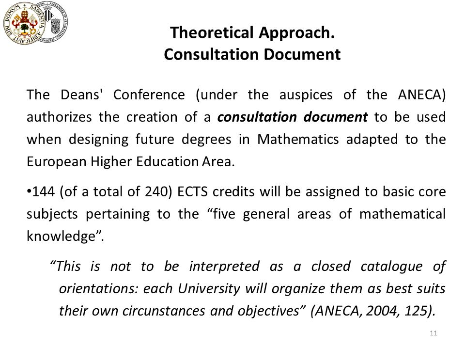 Theoretical Approach. Consultation Document The Deans' Conference (under the auspices of the ANECA) authorizes the creation of a consultation document