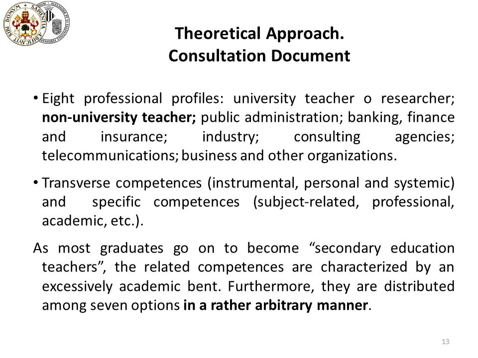 Theoretical Approach. Consultation Document Eight professional profiles: university teacher o researcher; non-university teacher; public administratio