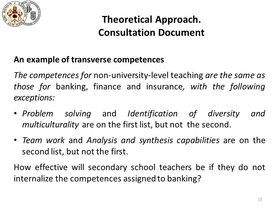 Theoretical Approach. Consultation Document An example of transverse competences The competences for non-university-level teaching are the same as tho