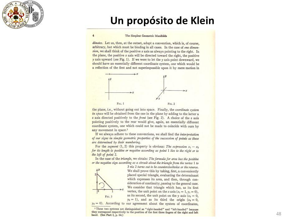 48 Un propósito de Klein
