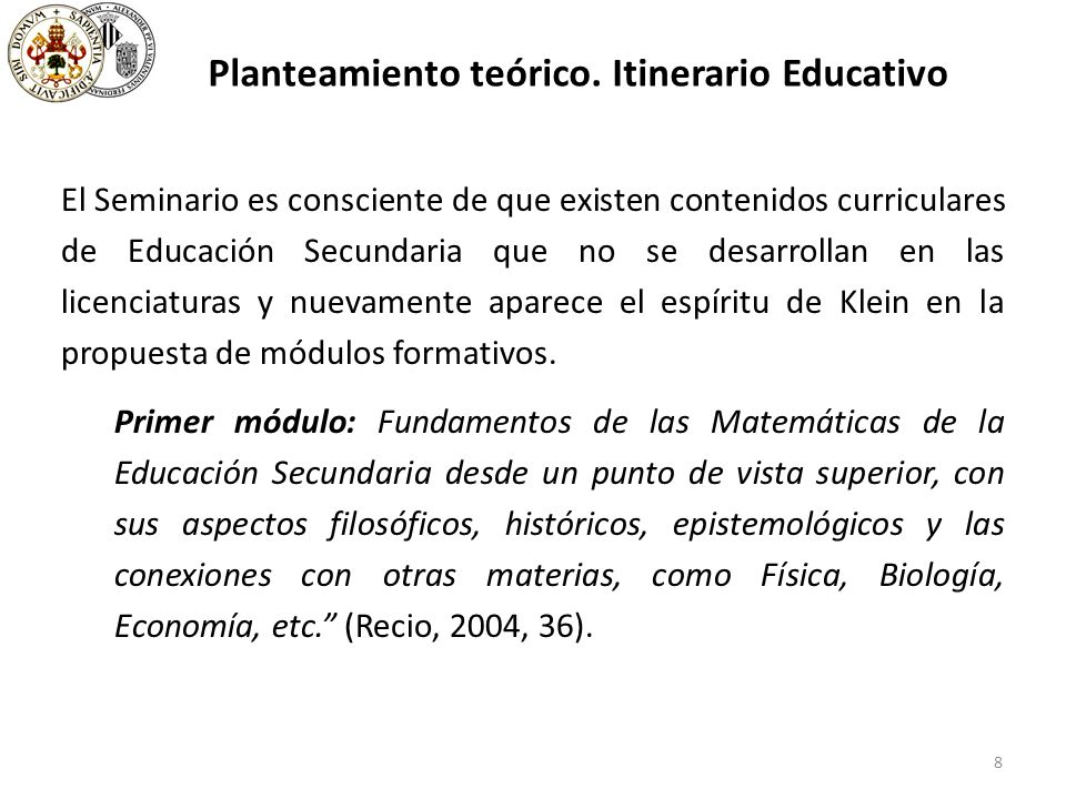 39 The subject Complements… at the University of Valencia (6 ECTS) The use of Mathematical models, contexts and situations allows a phenomenological approach to the teaching of mathematics in Secondary Education, which helps students to understand mathematical concepts, properties and procedures, and to know and experience their usefulness as a tool to solve problems of science and technology.