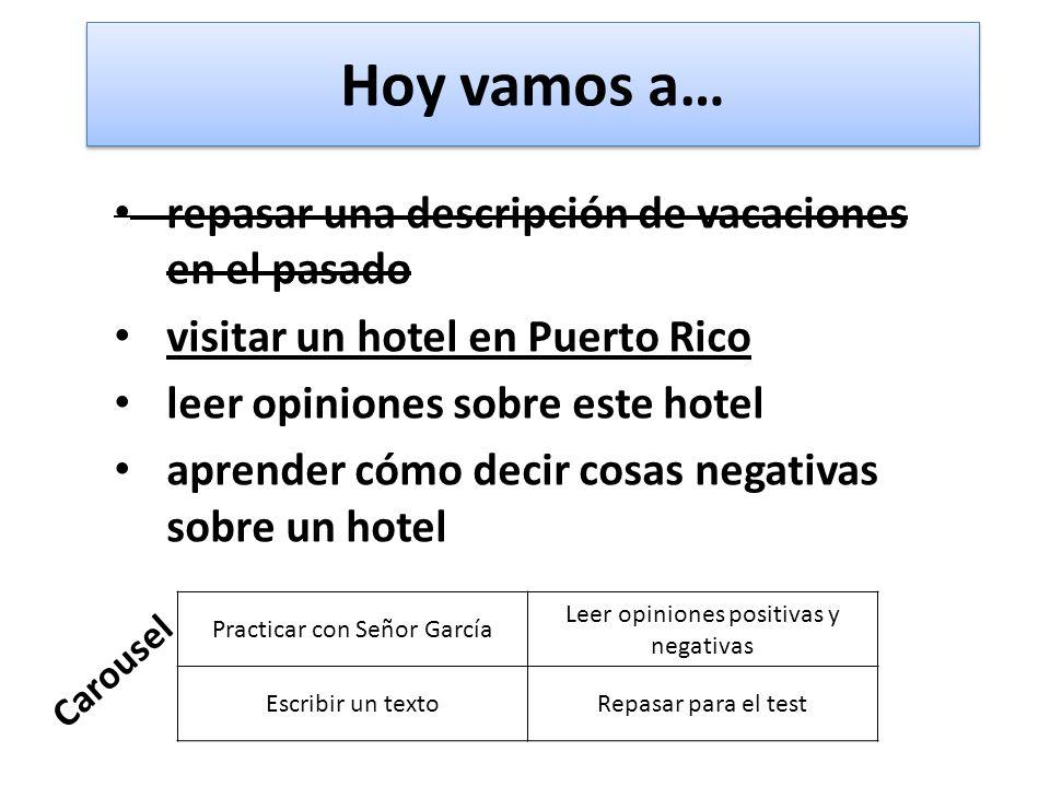 Hoy vamos a… repasar una descripción de vacaciones en el pasado visitar un hotel en Puerto Rico leer opiniones sobre este hotel aprender cómo decir co