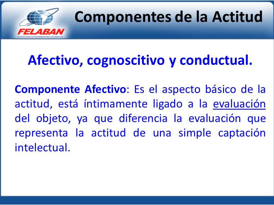 Afectivo, cognoscitivo y conductual. Componente Afectivo: Es el aspecto básico de la actitud, está íntimamente ligado a la evaluación del objeto, ya q