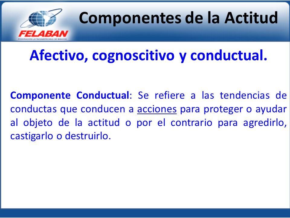 Afectivo, cognoscitivo y conductual. Componente Conductual: Se refiere a las tendencias de conductas que conducen a acciones para proteger o ayudar al