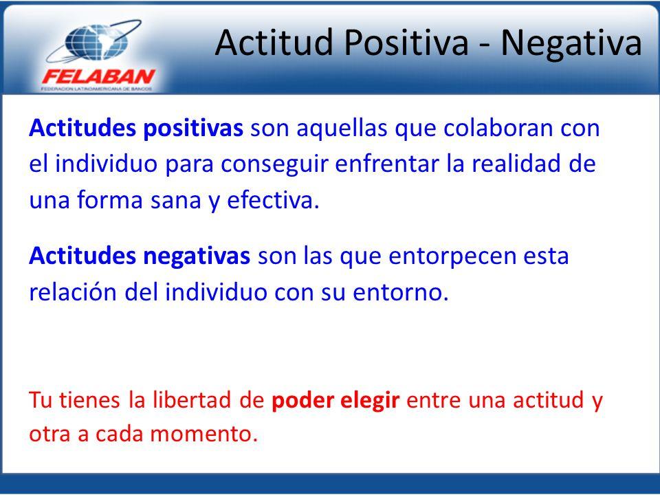 Actitud Positiva - Negativa Actitudes positivas son aquellas que colaboran con el individuo para conseguir enfrentar la realidad de una forma sana y efectiva.