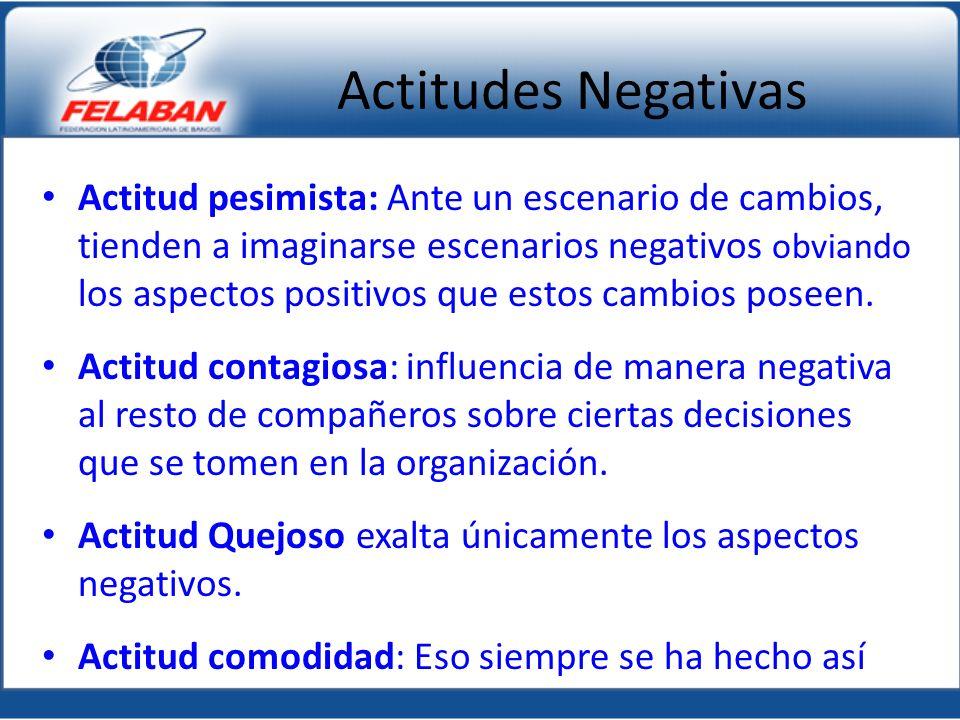 Actitudes Negativas Actitud pesimista: Ante un escenario de cambios, tienden a imaginarse escenarios negativos obviando los aspectos positivos que estos cambios poseen.