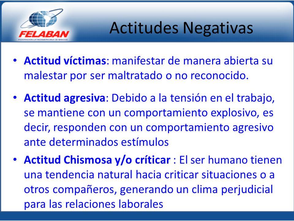 Actitudes Negativas Actitud víctimas: manifestar de manera abierta su malestar por ser maltratado o no reconocido. Actitud agresiva: Debido a la tensi