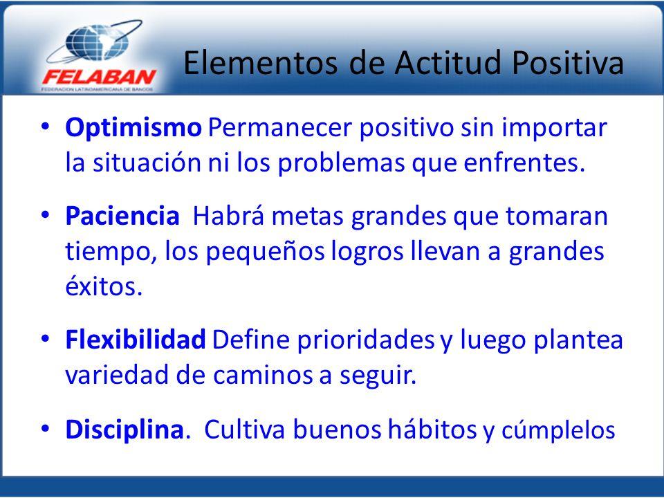 Elementos de Actitud Positiva Optimismo Permanecer positivo sin importar la situación ni los problemas que enfrentes. Paciencia Habrá metas grandes qu
