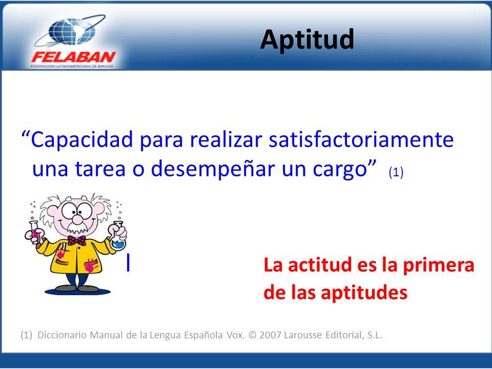 Capacidad para realizar satisfactoriamente una tarea o desempeñar un cargo (1) Lllllllllllllll La actitud es la primera de las aptitudes (1) Diccionario Manual de la Lengua Española Vox.