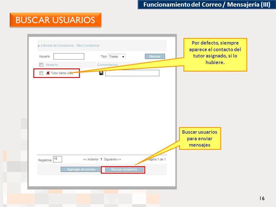 Funcionamiento del Correo / Mensajería (III) Buscar usuarios para enviar mensajes Por defecto, siempre aparece el contacto del tutor asignado, si lo hubiere.