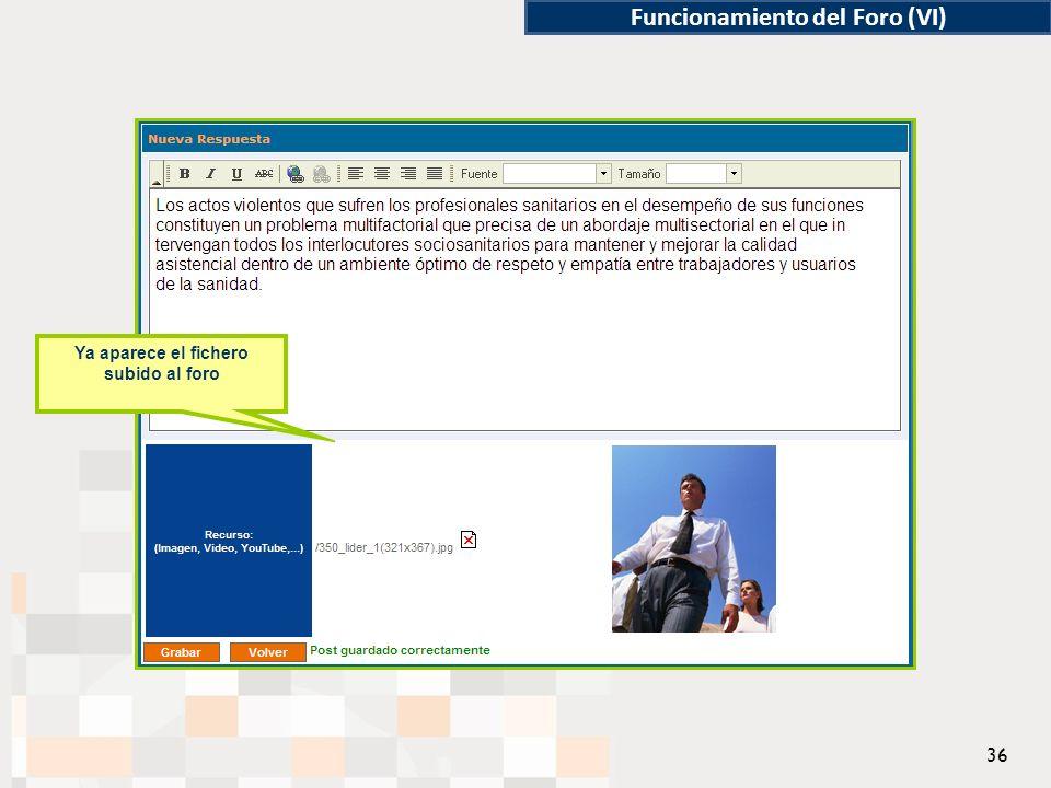 Funcionamiento del Foro (VI) Ya aparece el fichero subido al foro 36