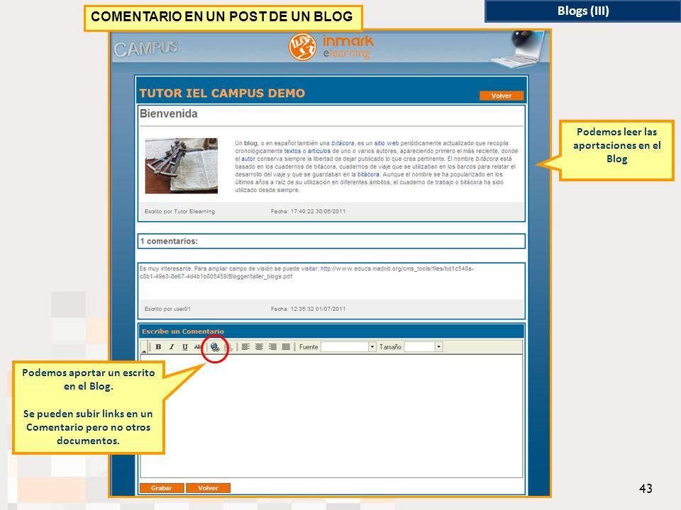 Podemos aportar un escrito en el Blog.