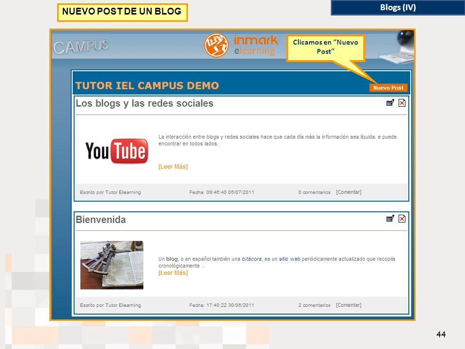 Blogs (IV) NUEVO POST DE UN BLOG Clicamos en Nuevo Post 44