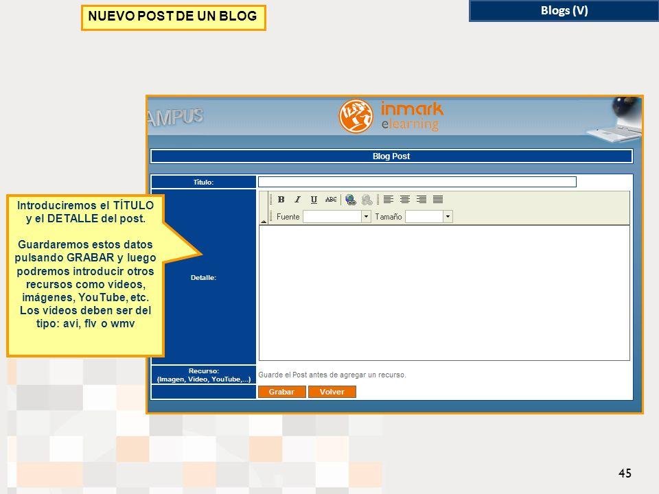 Blogs (V) NUEVO POST DE UN BLOG Introduciremos el TÍTULO y el DETALLE del post.