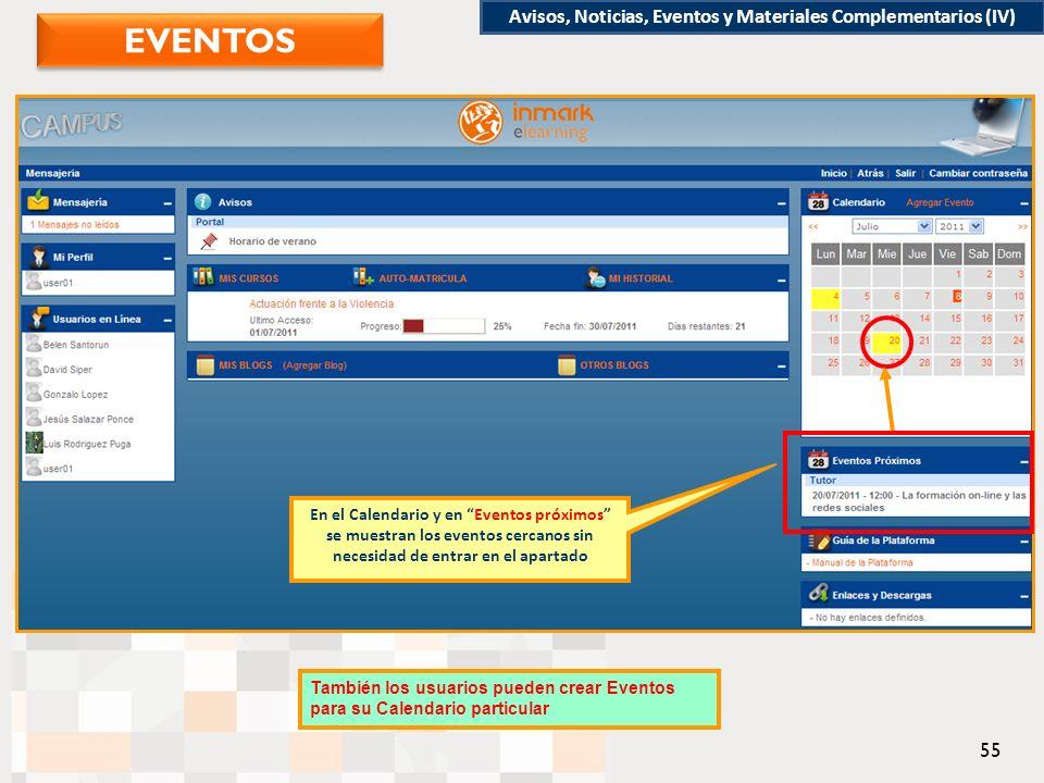 En el Calendario y en Eventos próximos se muestran los eventos cercanos sin necesidad de entrar en el apartado También los usuarios pueden crear Eventos para su Calendario particular Avisos, Noticias, Eventos y Materiales Complementarios (IV) EVENTOS 55