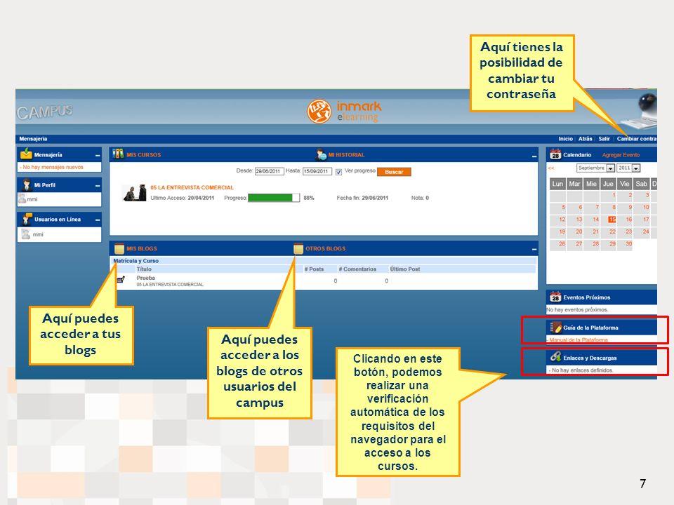 Clicando en este botón, podemos realizar una verificación automática de los requisitos del navegador para el acceso a los cursos.